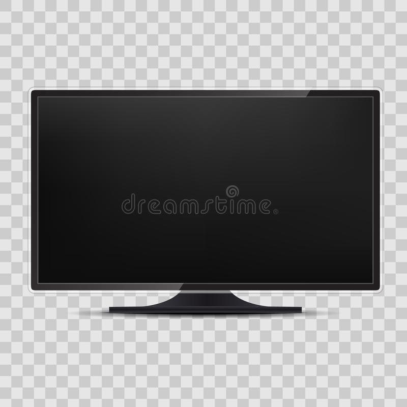 Creative vector illustration of realistic TV screen, lcd panel, isolated on transparent background. Computer monitor display. Desi stock illustration