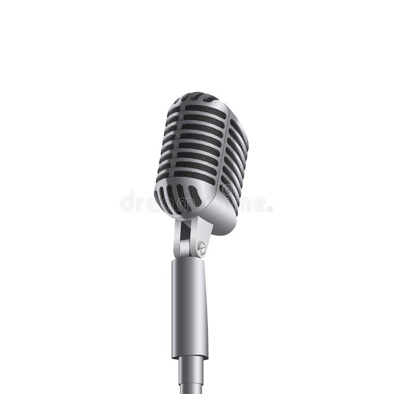 Creative vector illustration of retro vintage concert microphones on stand isolated on transparent background. Art design. Abstrac royalty free illustration
