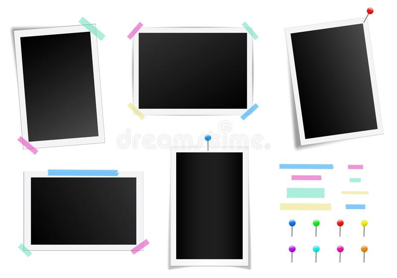 Creative vector illustration set of square photo frame with shadows isolated on background. Retro art design. Realistic mockups. C. Olor adhesive tapes, push royalty free illustration