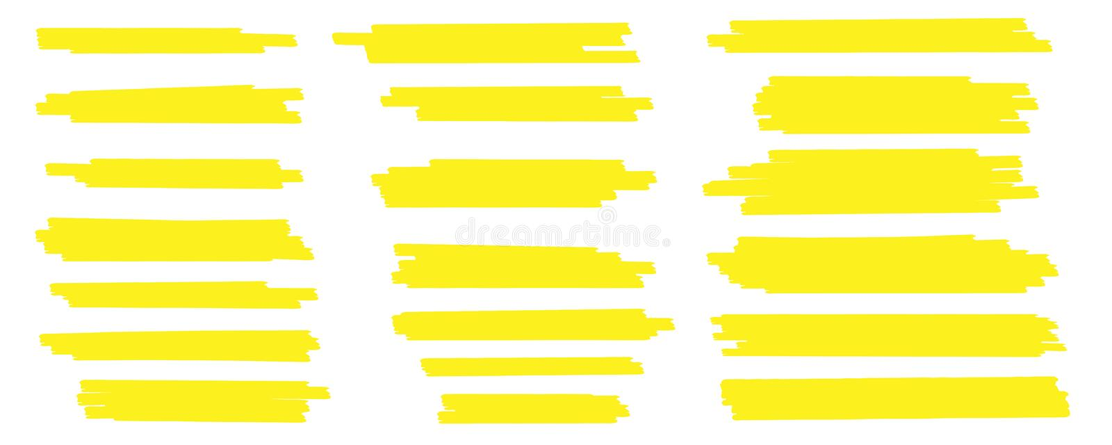 Creative vector illustration of stain strokes, hand drawn yellow highlight japan marker lines, brushes stripes isolated royalty free illustration