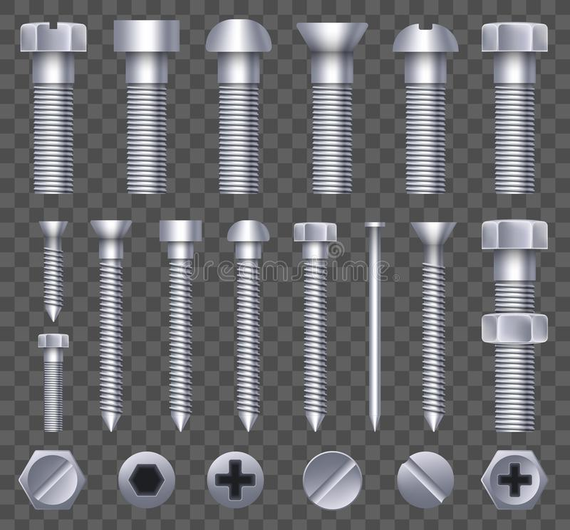 Creative vector illustration of steel brass bolts, metal screws, iron nails, rivets, washers, nuts hardware side view. On transparent background. Art design stock illustration