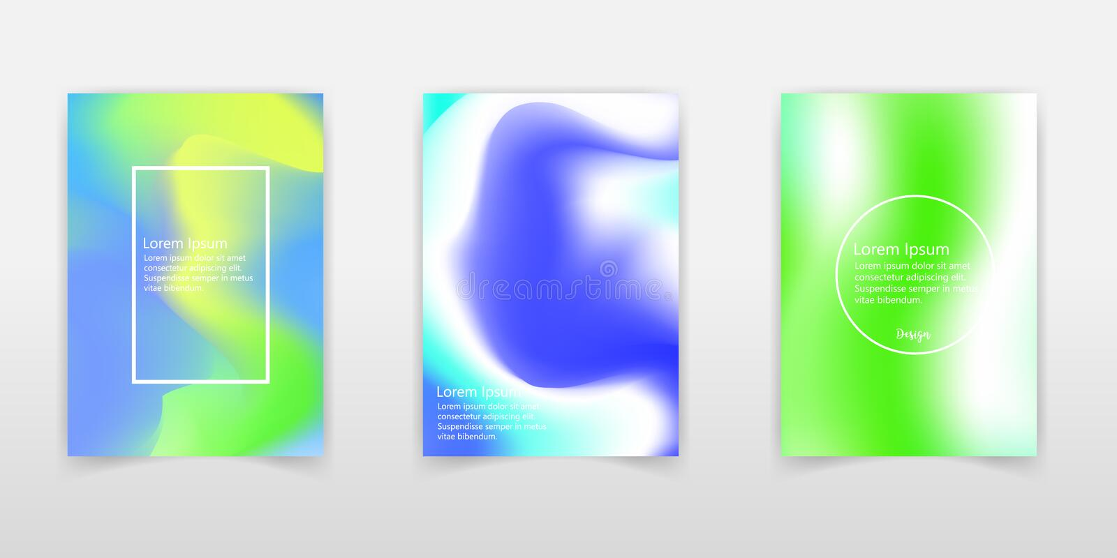 Creative vector illustration of trendy pastel holographic background set. Art design for cover, brochure, poster, business flyer, royalty free illustration