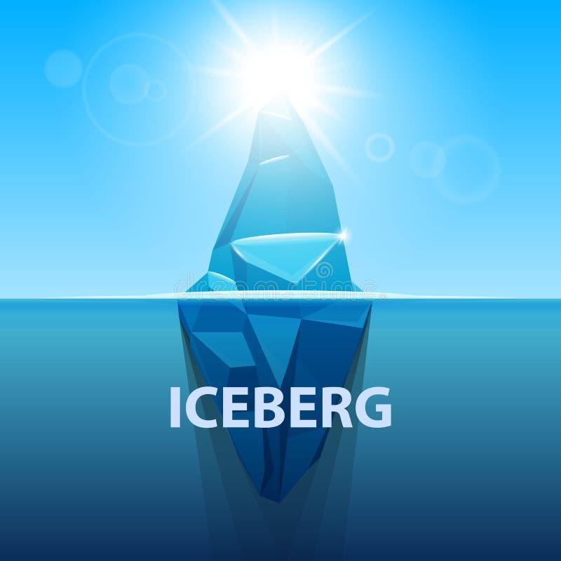 Creative vector illustration of under water antarctic ocean iceberg. Art design infographic template. Hidden danger of global warm vector illustration