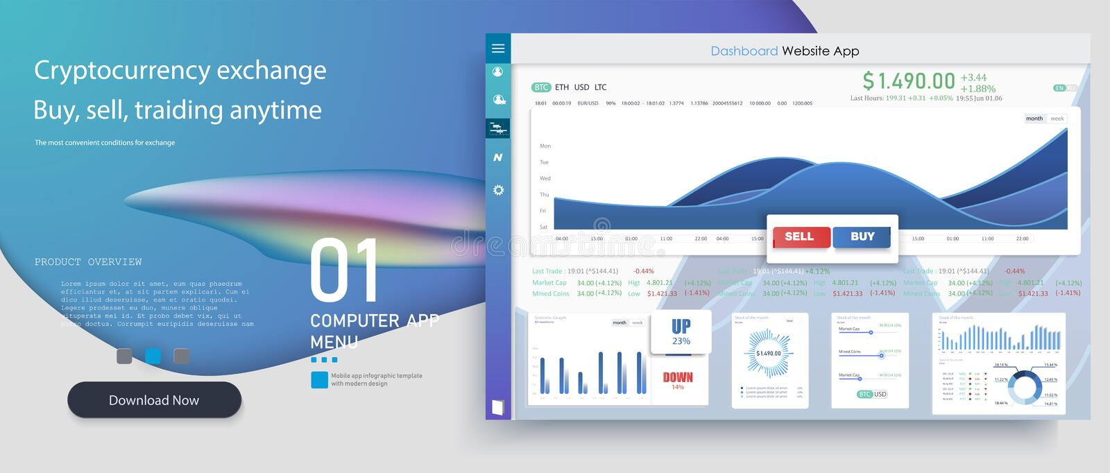 Creative vector illustration of web dashboard infographic template.Online statistics and data Analytics.Market trade. stock illustration