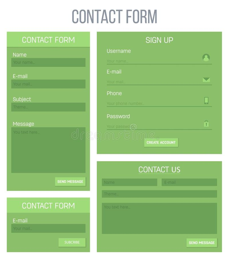 Creative vector illustration of web site registration or login contact form isolated on background. UI and UX art design. Abstract. Concept graphic templates stock illustration