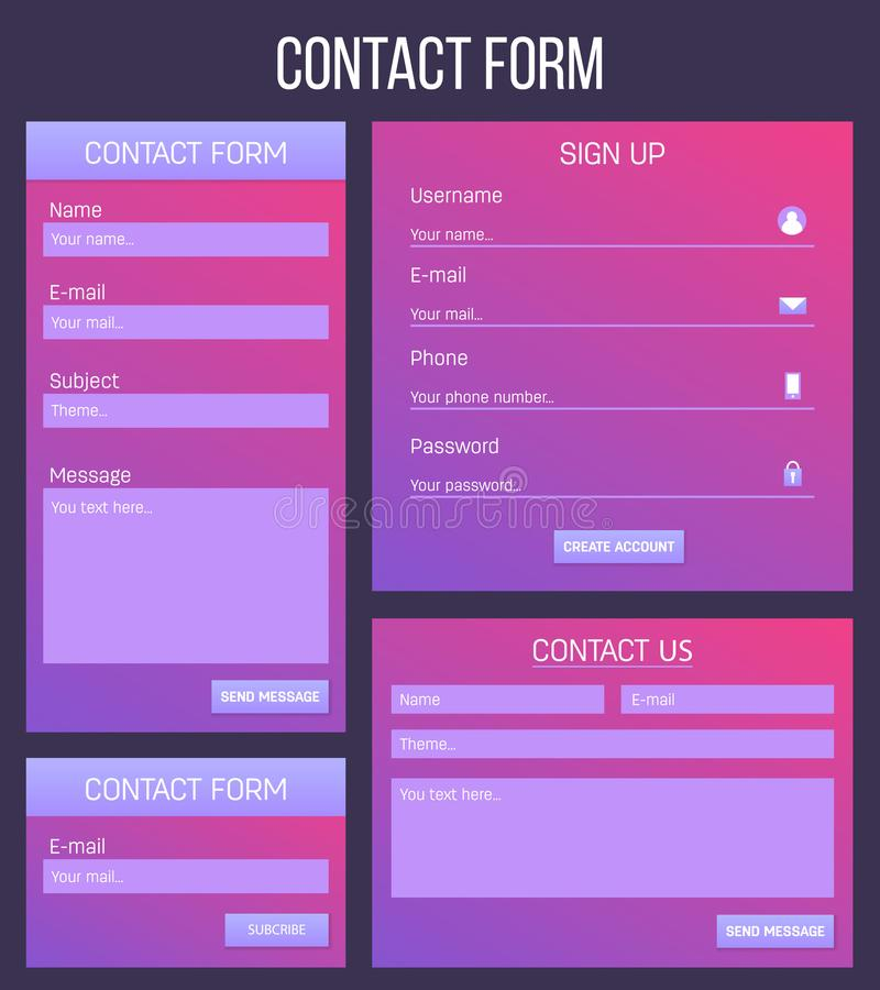 Creative vector illustration of web site registration or login contact form isolated on background. UI and UX art design. Abstract concept graphic templates royalty free illustration