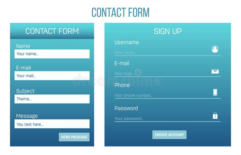Creative vector illustration of web site registration or login contact form isolated on background. UI and UX art design. Abstract concept graphic templates vector illustration