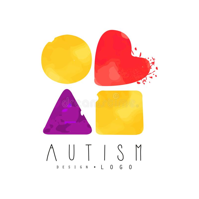 Creative vector logo with abstract textured shapes: circle, heart, triangle and square. Autism Awareness Day emblem vector illustration