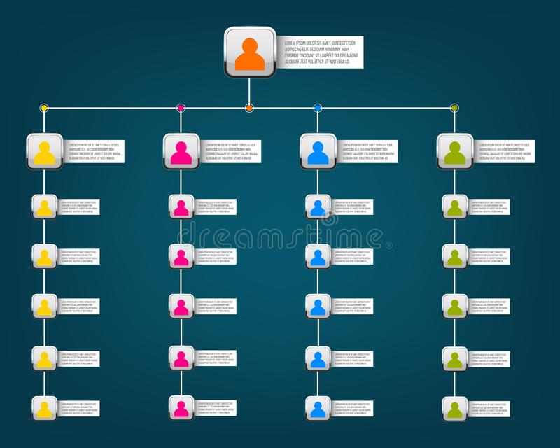 Creative vector modern style illustration corporate organizational chart slide of isolated on background. Business work flowchart. Process. Art design blank royalty free illustration