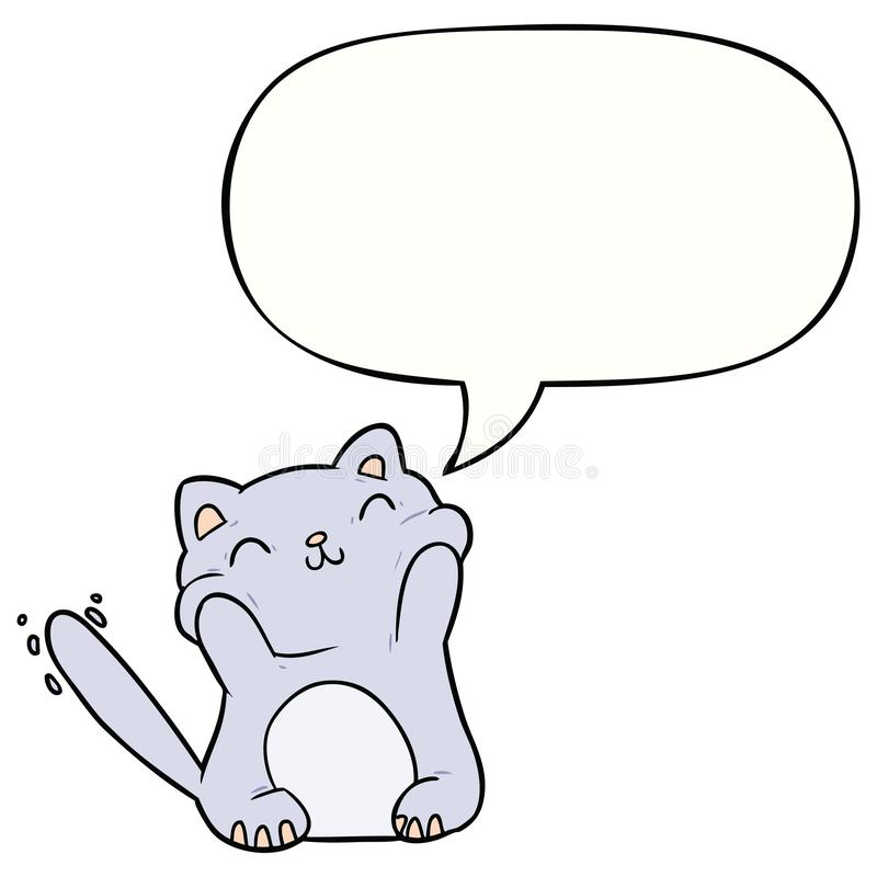 A creative very happy cute cartoon cat  and speech bubble vector illustration