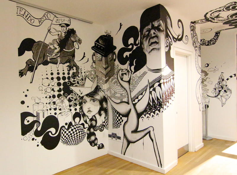 Creative wall. Montreal Museum of fine arts gives a large part to illustration in its walls. Here, a collective creation stock photo