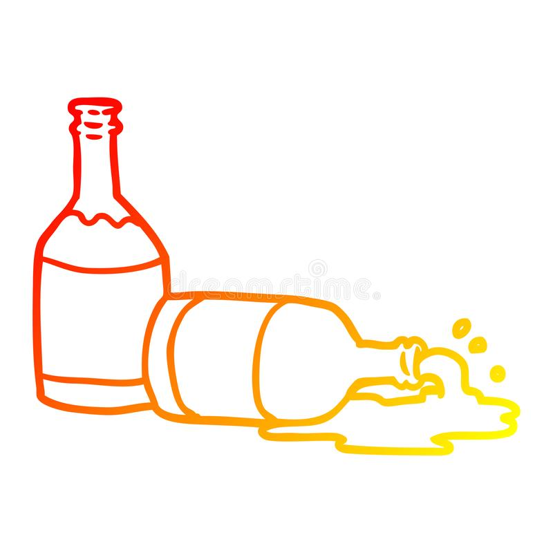 A creative warm gradient line drawing beer bottles with spilled beer stock illustration