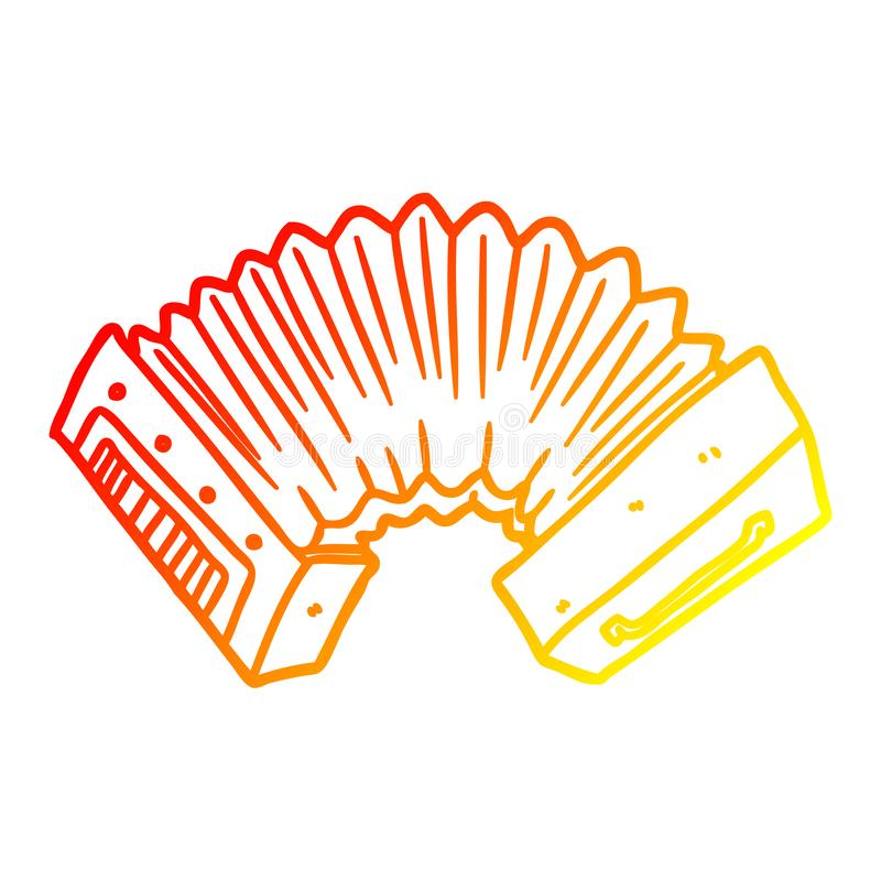 A creative warm gradient line drawing cartoon accordion. An original creative warm gradient line drawing cartoon accordion vector illustration
