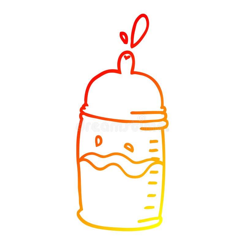 A creative warm gradient line drawing cartoon baby bottle. An original creative warm gradient line drawing cartoon baby bottle vector illustration