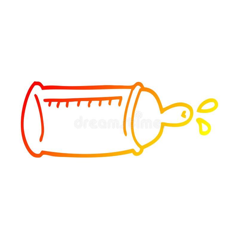 A creative warm gradient line drawing cartoon baby bottle. An original creative warm gradient line drawing cartoon baby bottle royalty free illustration