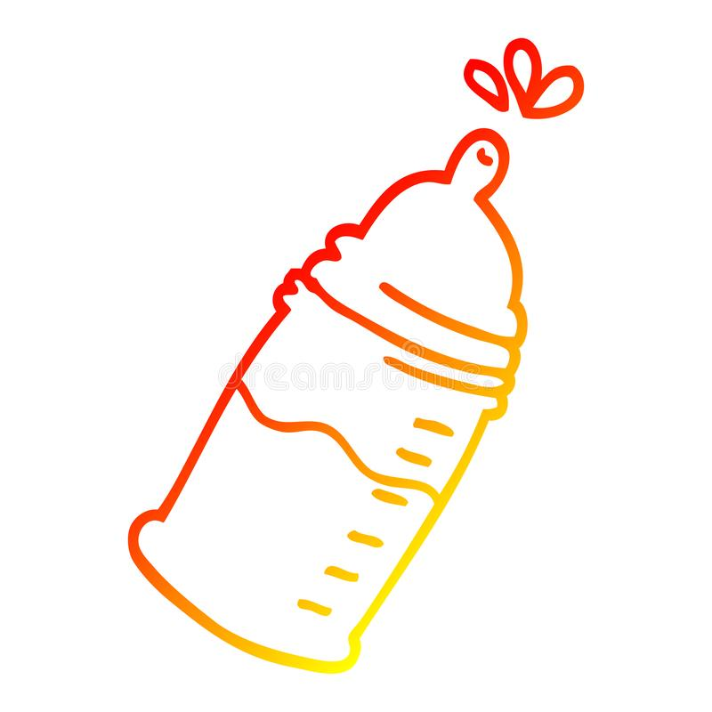 A creative warm gradient line drawing cartoon baby bottle. An original creative warm gradient line drawing cartoon baby bottle stock illustration