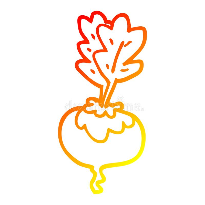 A creative warm gradient line drawing cartoon beetroot. An original creative warm gradient line drawing cartoon beetroot royalty free illustration