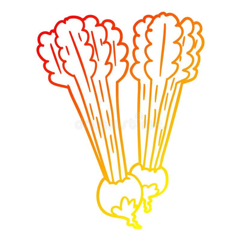 A creative warm gradient line drawing Cartoon beetroots. An original creative warm gradient line drawing Cartoon beetroots stock illustration
