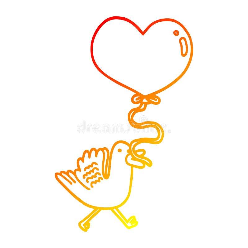 A creative warm gradient line drawing cartoon bird with heart balloon. An original creative warm gradient line drawing cartoon bird with heart balloon stock illustration