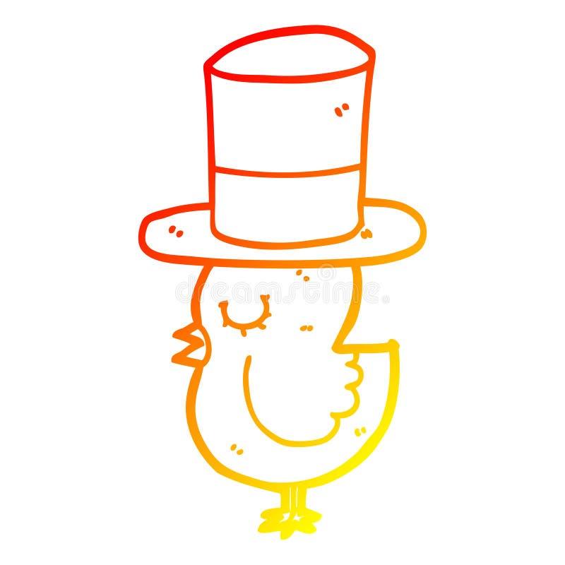 A creative warm gradient line drawing cartoon bird wearing top hat. An original creative warm gradient line drawing cartoon bird wearing top hat vector illustration