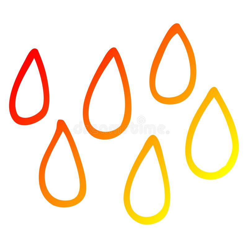 A creative warm gradient line drawing cartoon blood droplets. An original creative warm gradient line drawing cartoon blood droplets vector illustration