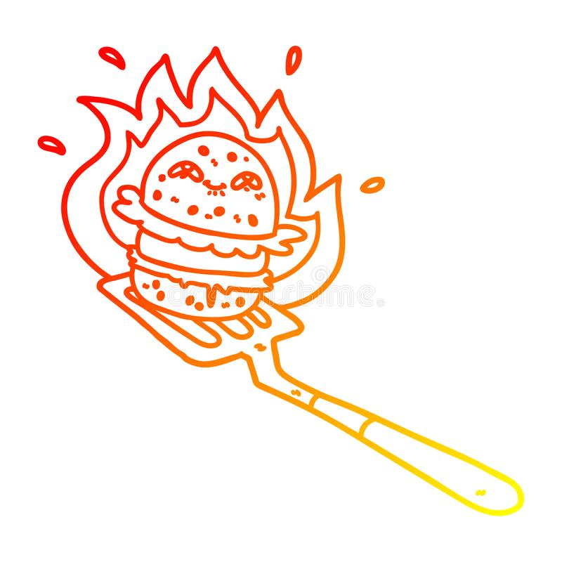 A creative warm gradient line drawing cartoon burger cooking. An original creative warm gradient line drawing cartoon burger cooking vector illustration