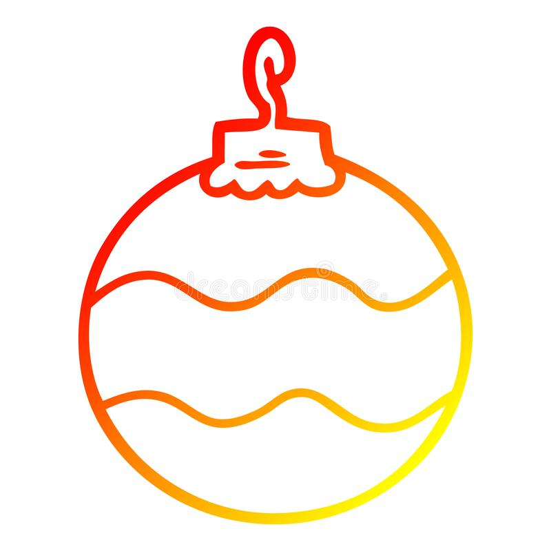 A creative warm gradient line drawing cartoon christmas bauble stock illustration
