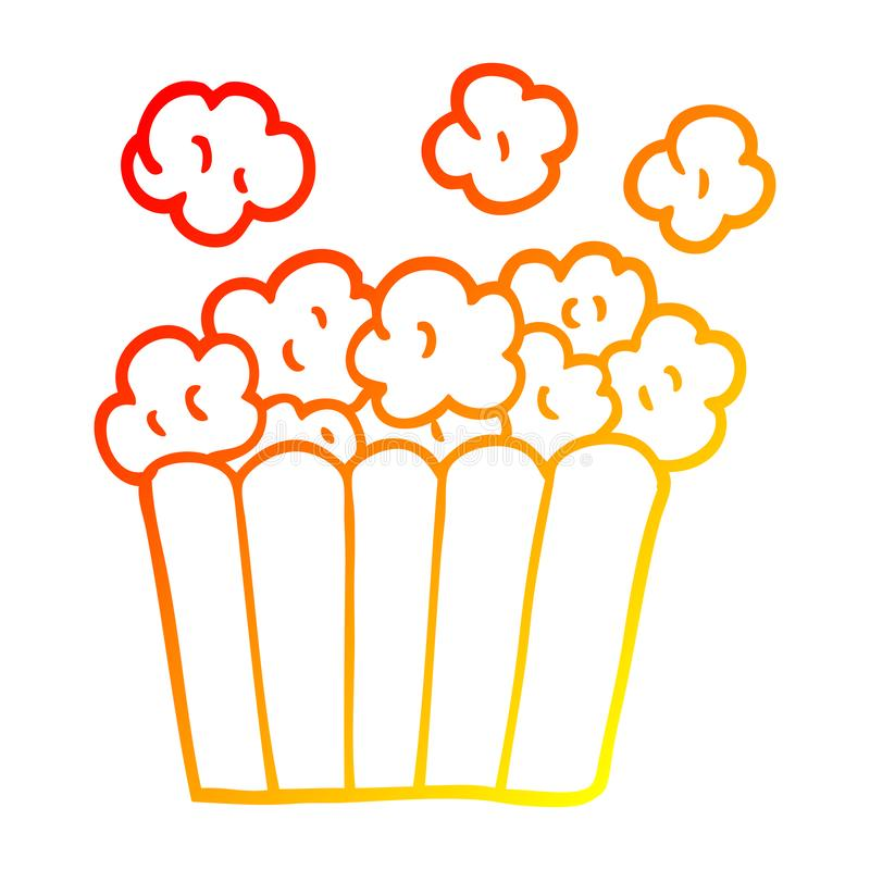 A creative warm gradient line drawing cartoon cinema popcorn royalty free illustration