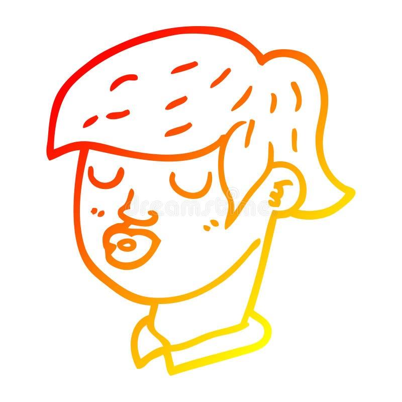 A creative warm gradient line drawing cartoon content face. An original creative warm gradient line drawing cartoon content face vector illustration