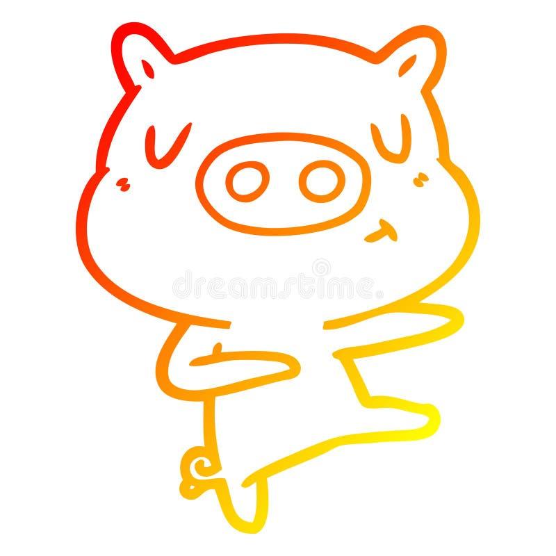 A creative warm gradient line drawing cartoon content pig dancing. An original creative warm gradient line drawing cartoon content pig dancing stock illustration