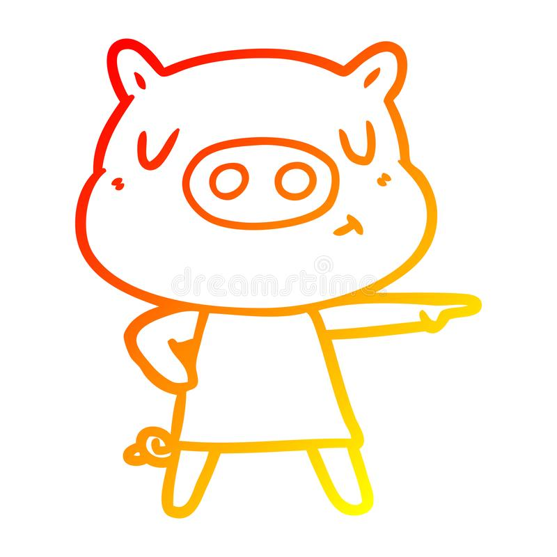 A creative warm gradient line drawing cartoon content pig in dress pointing. An original creative warm gradient line drawing cartoon content pig in dress stock illustration