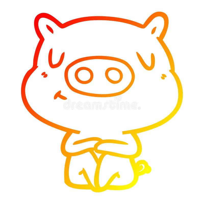 A creative warm gradient line drawing cartoon content pig meditating. An original creative warm gradient line drawing cartoon content pig meditating royalty free illustration