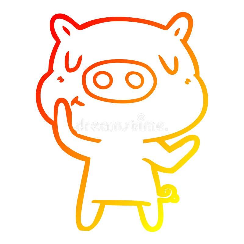 A creative warm gradient line drawing cartoon content pig. An original creative warm gradient line drawing cartoon content pig vector illustration
