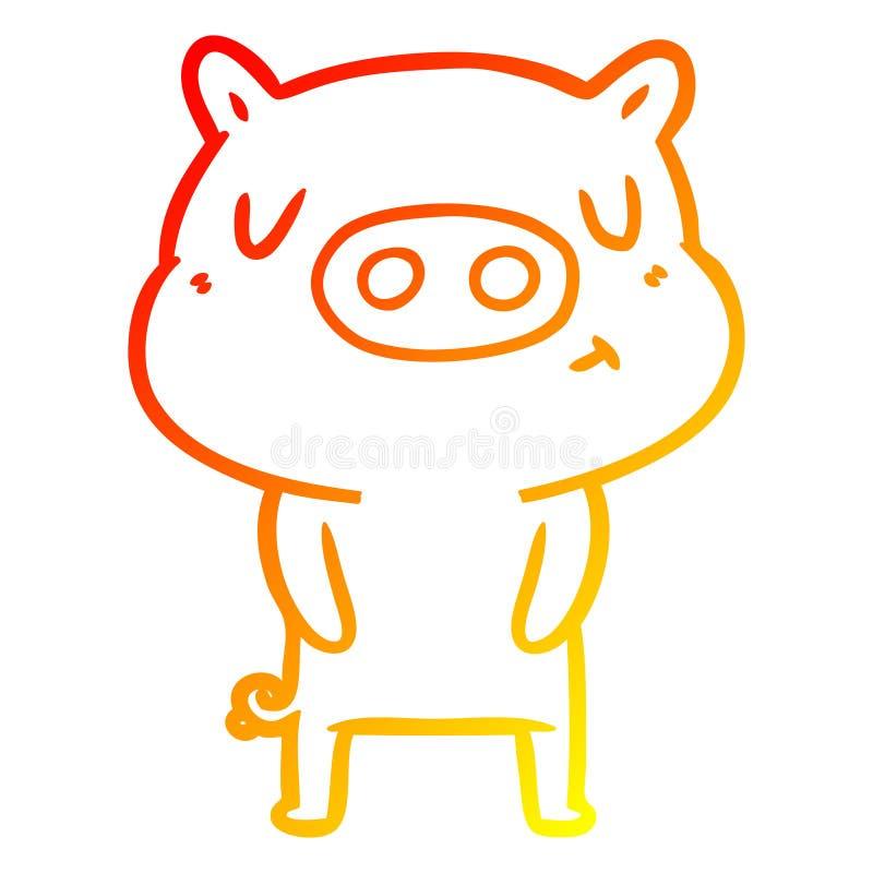 A creative warm gradient line drawing cartoon content pig. An original creative warm gradient line drawing cartoon content pig stock illustration