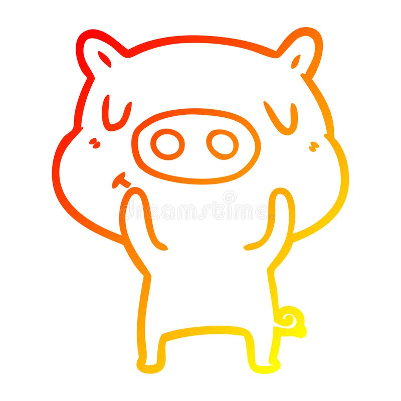 A creative warm gradient line drawing cartoon content pig. An original creative warm gradient line drawing cartoon content pig royalty free illustration