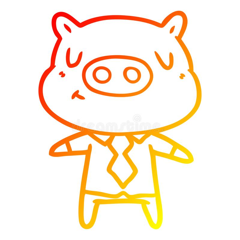A creative warm gradient line drawing cartoon content pig in shirt and tie. An original creative warm gradient line drawing cartoon content pig in shirt and tie vector illustration