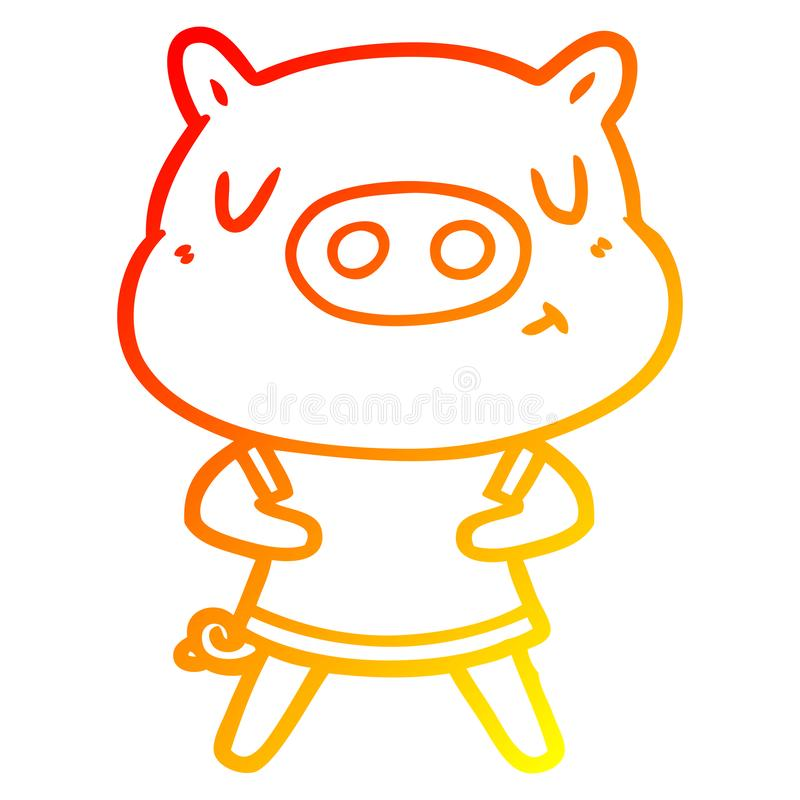 A creative warm gradient line drawing cartoon content pig wearing t shirt. An original creative warm gradient line drawing cartoon content pig wearing t shirt stock illustration