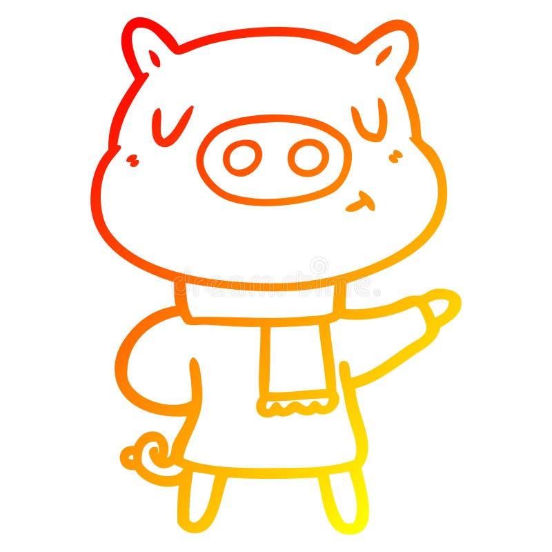 A creative warm gradient line drawing cartoon content pig in winter attire. An original creative warm gradient line drawing cartoon content pig in winter attire royalty free illustration