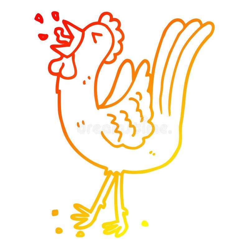 A creative warm gradient line drawing cartoon crowing cockerel. An original creative warm gradient line drawing cartoon crowing cockerel royalty free illustration