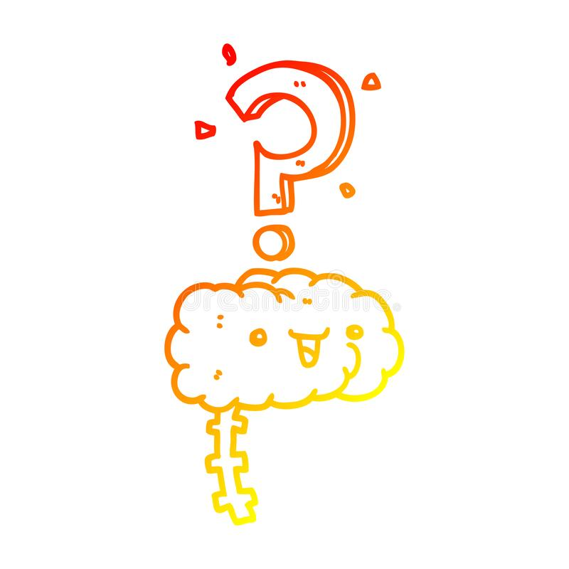 A creative warm gradient line drawing cartoon curious brain. An original creative warm gradient line drawing cartoon curious brain stock illustration