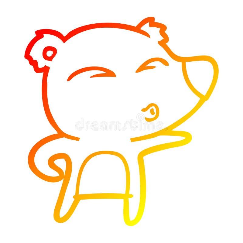 A creative warm gradient line drawing cartoon explaining polar bear. An original creative warm gradient line drawing cartoon explaining polar bear stock illustration