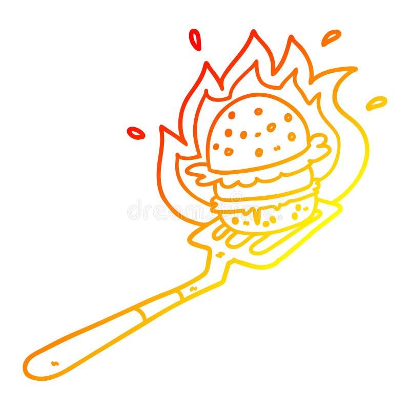 A creative warm gradient line drawing cartoon flaming burger on spatula. An original creative warm gradient line drawing cartoon flaming burger on spatula vector illustration