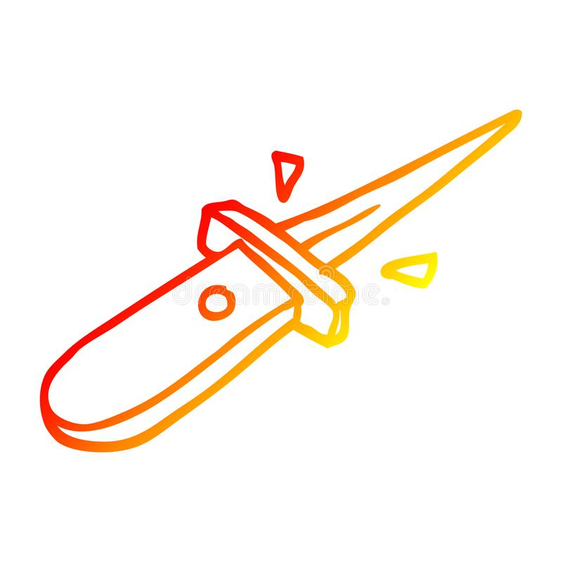 A creative warm gradient line drawing cartoon flick knife snapping open. An original creative warm gradient line drawing cartoon flick knife snapping open royalty free illustration