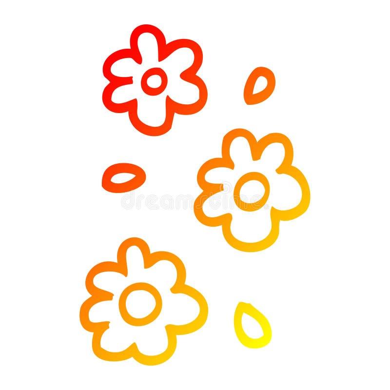 A creative warm gradient line drawing cartoon flower heads royalty free stock photo