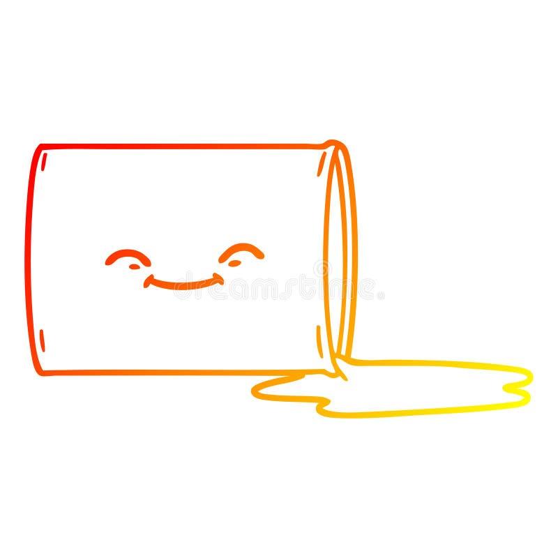 A creative warm gradient line drawing cartoon happy oil drum. An original creative warm gradient line drawing cartoon happy oil drum royalty free illustration
