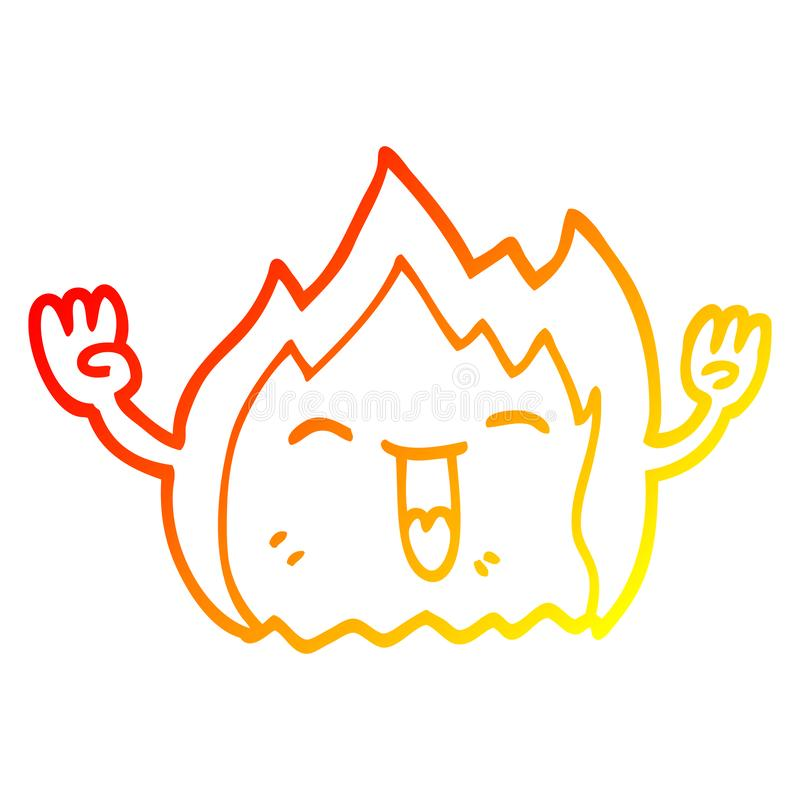 A creative warm gradient line drawing cartoon happy red flame. An original creative warm gradient line drawing cartoon happy red flame royalty free illustration