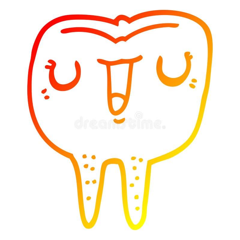 A creative warm gradient line drawing cartoon happy tooth. An original creative warm gradient line drawing cartoon happy tooth stock illustration