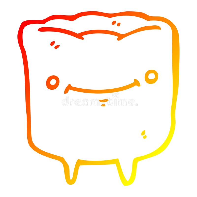 A creative warm gradient line drawing cartoon happy tooth. An original creative warm gradient line drawing cartoon happy tooth royalty free illustration