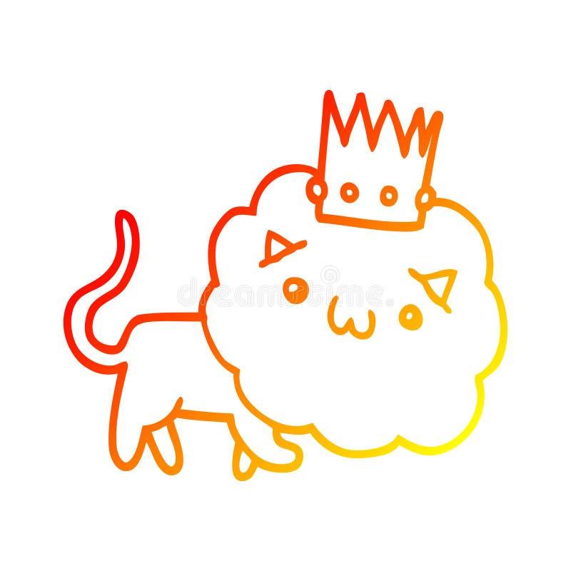 Lion Crown Animals King Zoo Cute Cartoon Warm Line Gradient