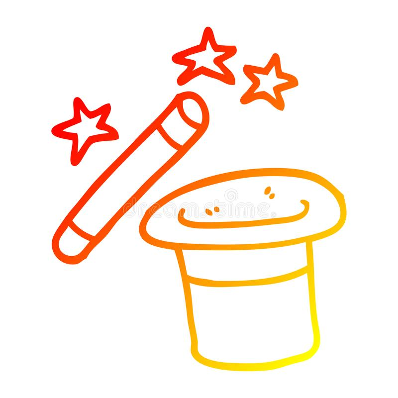 A creative warm gradient line drawing cartoon magicians hat and wand vector illustration